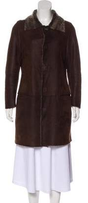 Armani Collezioni Shearling Knee-Length Coat