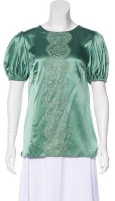 Dolce & Gabbana Lace-Trimmed Silk Top w/ Tags
