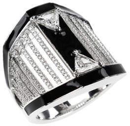Nikos Koulis 18k White Gold Oui Pave & Trillion Diamond Ring, Size 6.75