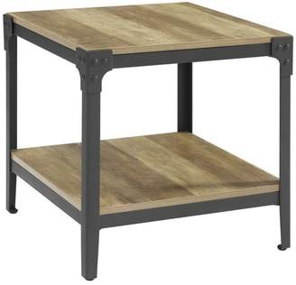 Walker Edison Furniture Company Angle Iron Rustic Wood End Tables, Set of 2