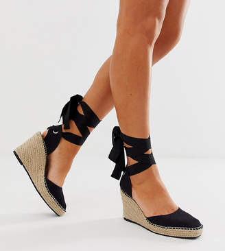 7572d1564d Asos Design DESIGN Wide Fit Jaylen espadrille wedges in black