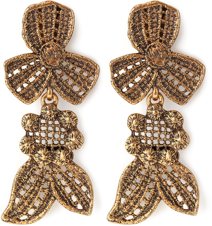 Oscar de la Renta Cast Lace Clip Earrings