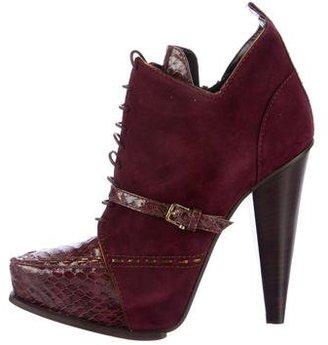 Derek Lam Donya Snakeskin-Trimmed Ankle Boots $275 thestylecure.com