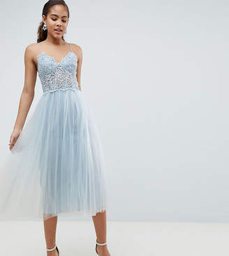 Asos Tall Design Tall Premium Lace Cami Top Tulle Midi Dress