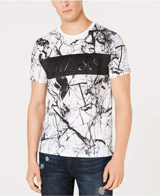 GUESS Men's Marble-Print Embossed Logo T-Shirt