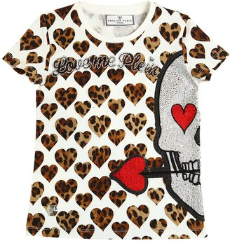 Philipp Plein Junior Leopard Print Cotton Jersey T-Shirt