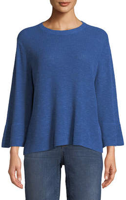 Eileen Fisher 3/4-Sleeve Ribbed Organic Linen and Cotton Sweater, Plus Size