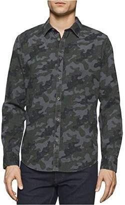 Calvin Klein Jeans Men's Melange Camo Print Long Sleeve Button Down Shirt