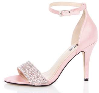 Quiz Pink Satin Diamante Strap Heel Sandals