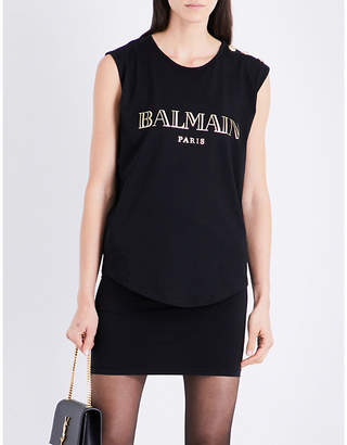 Balmain Logo-print cotton-jersey top