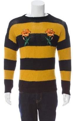 Gucci Striped Floral Appliqué Sweater