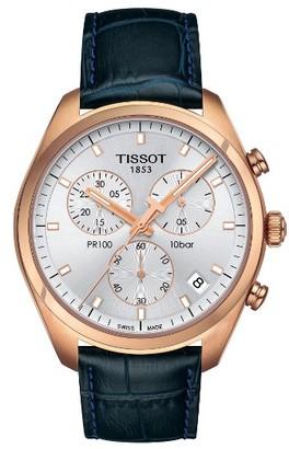 Tissot Pr100 Chronograph Leather Strap Watch, 41Mm $450 thestylecure.com