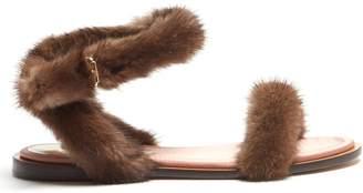 Fur-trimmed sandals