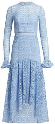 ML Monique Lhuillier Draped Lace Dress