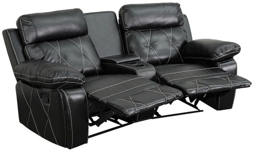 Offex Real Comfort Series 2-seat Theater Seating Unit with Curved Cup Holders
