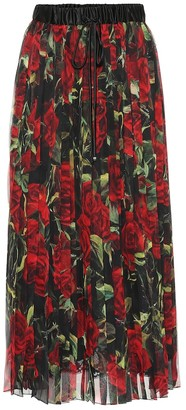 Dolce & Gabbana Floral pleated silk-blend skirt