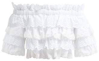 Dolce & Gabbana Ruffled Broderie Anglaise Cotton And Silk Crop Top - Womens - White