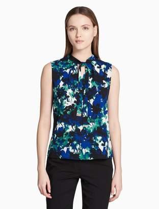 Calvin Klein floral skinny tie sleeveless top