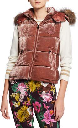 Moncler Velvet Puffer Vest w/ Fur Hood