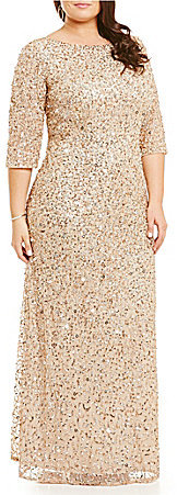 Adrianna Papell Adrianna Papell Plus 3/4 Sleeve Beaded Gown