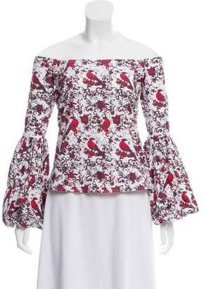 Caroline Constas Printed Off-The-Shoulder Top