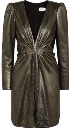 Saint Laurent Twisted Silk-blend Lamé Mini Dress - Gold