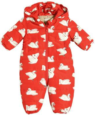 Stella McCartney Swans Print Hooded Nylon Baby Bunting