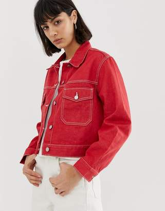 Weekday recycled edition denim jacket in red