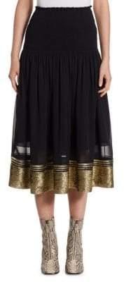 Chloé Women's Smocked Waist Lurex Midi Skirt - Gold - Size 34 (2)