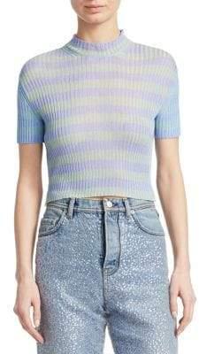 Acne Studios Renee Rib-Stripe Short Sleeve Top
