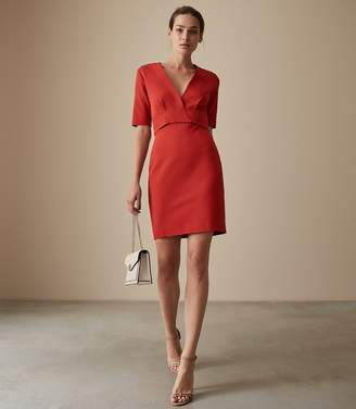 Reiss REBECCA WRAP FRONT SLIM FIT DRESS Red