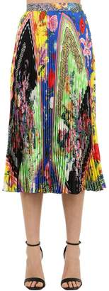 Versace Printed Silk Twill Midi Skirt W/ Pleats