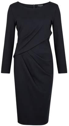 Emporio Armani Navy Pleated Stretch-knit Dress