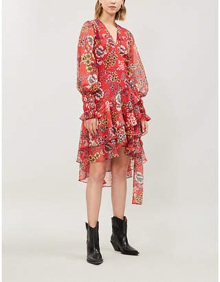 Alexis Sidony floral-print ruffled crepe dress