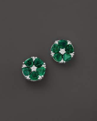 Emerald and Diamond Flower Stud Earrings in 14K White Gold - 100% Exclusive $3,700 thestylecure.com