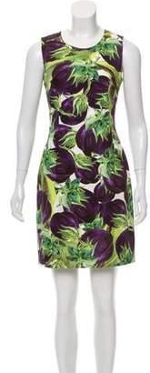 Dolce & Gabbana Eggplant Print Sleeveless Mini Dress