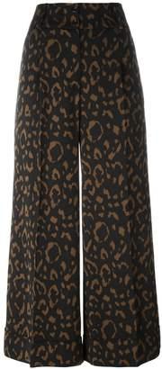 Blumarine jacquard wide leg cropped trousers