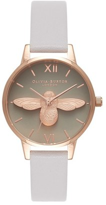 Women's Olivia Burton Molded Bee Leather Strap Watch, 30Mm $195 thestylecure.com