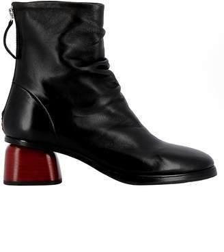 Halmanera Black/red Leather Ankle Boots