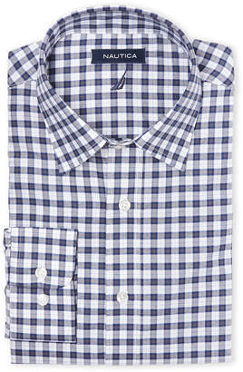 Nautica Grey & Blue Plaid Stretch Classic Fit Dress Shirt