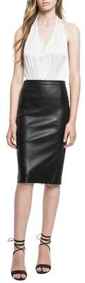 LAMARQUE Leather Pencil Skirt