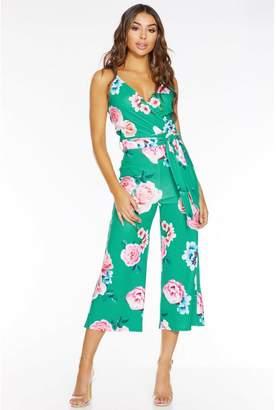 Quiz Jade And Pink Floral Print Culotte Jumpsuit