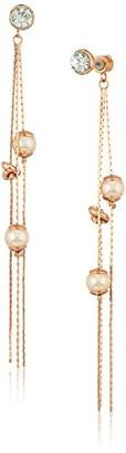 Kenneth Cole New York Womens Knot and Pearl Front Back Drop Earrings
