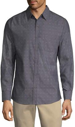 Haggar Long Sleeve Dots Button-Front Shirt