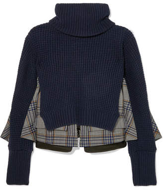 Sacai Layered Wool And Checked Cotton Turtleneck Sweater - Navy