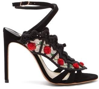 Sophia Webster Carmen Rose Appliqued Suede Sandals - Womens - Black