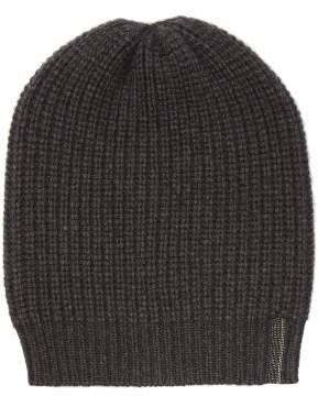 Brunello Cucinelli Studded Ribbed Cashmere Beanie Hat - Womens - Charcoal
