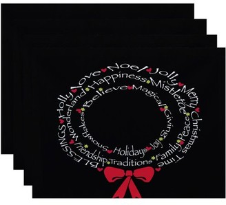 Holiday Essence Wreath of Words Word Print Placemat