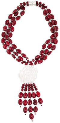 3 Strand Red Howlite Flower Fringe Necklace