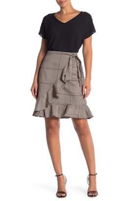 ECI Front Tie Plaid Print Skirt